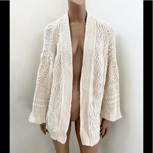 Soft Surroundings open front cable knit cardigan M